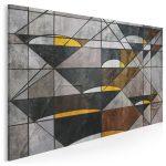 geometryczny obraz w stylu industrialnym - loftowe przeszklenia receptą na piękne wnętrze