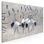 obraz z żurawiami wśród tataraku - styl japandi hybryda kultur w minimalistycznym wydaniu