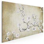 beżowy obraz z kwiatem wiśni - styl japandi hybryda kultur w minimalistycznym wydaniu