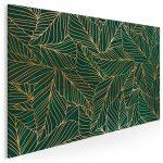obraz ze złoto-zielonymi liśćmi - Złote liście we wnętrzach – najmodniejszy trend tego roku!