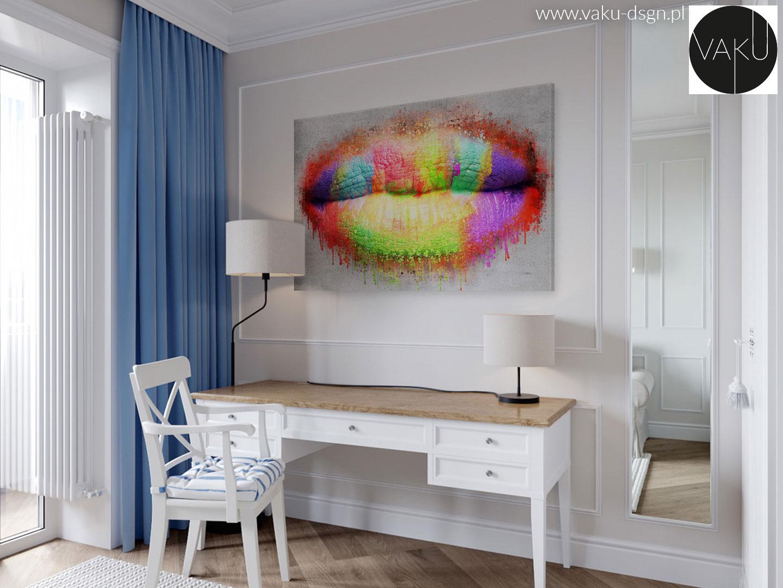 obraz z motywem kolorowych ust do gabinetu kosmetycznego