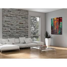 Odbicie deszczowego miasta - nowoczesny obraz na płótnie - 50x70 cm