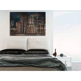 Moje miasto nocą - nowoczesny obraz do sypialni