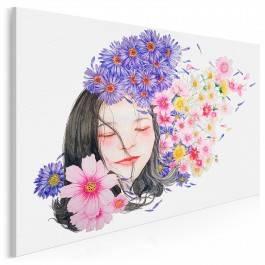 Kwiaty we włosach - nowoczesny obraz na płótnie - 120x80 cm