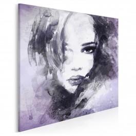 Dusza z antracytu we fioletach - nowoczesny obraz na płótnie - 80x80 cm
