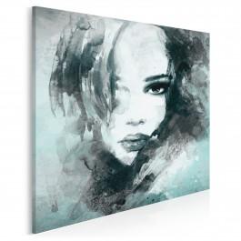 Dusza z antracytu w turkusie - nowoczesny obraz na płótnie - 80x80 cm