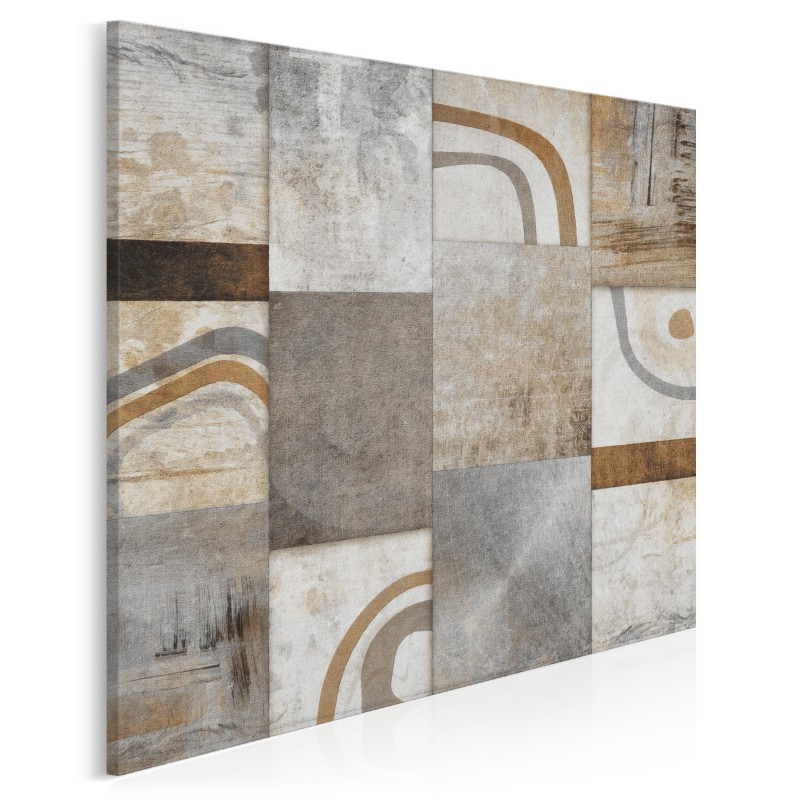 Mozaika myśli w brązach - nowoczesny obraz na płótnie - 80x80 cm