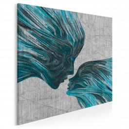 Taniec żywiołów w błękitach - nowoczesny obraz na płótnie - 80x80 cm