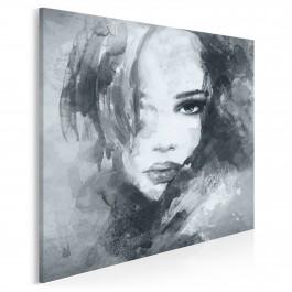 Dusza z antracytu w szarościach - nowoczesny obraz na płótnie - 80x80 cm