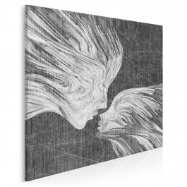 Taniec żywiołów w szarościach - nowoczesny obraz na płótnie - 80x80 cm