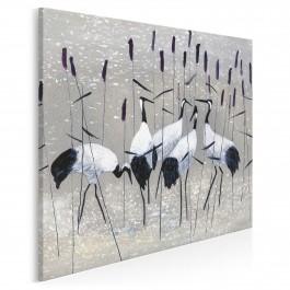 Żurawie nad rozlewiskiem - nowoczesny obraz na płótnie - w kwadracie