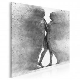 Metafizyka miłości w szarościach - nowoczesny obraz na płótnie - 80x80 cm