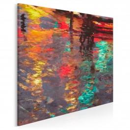Odbicie deszczowego miasta - nowoczesny obraz na płótnie - w kwadracie