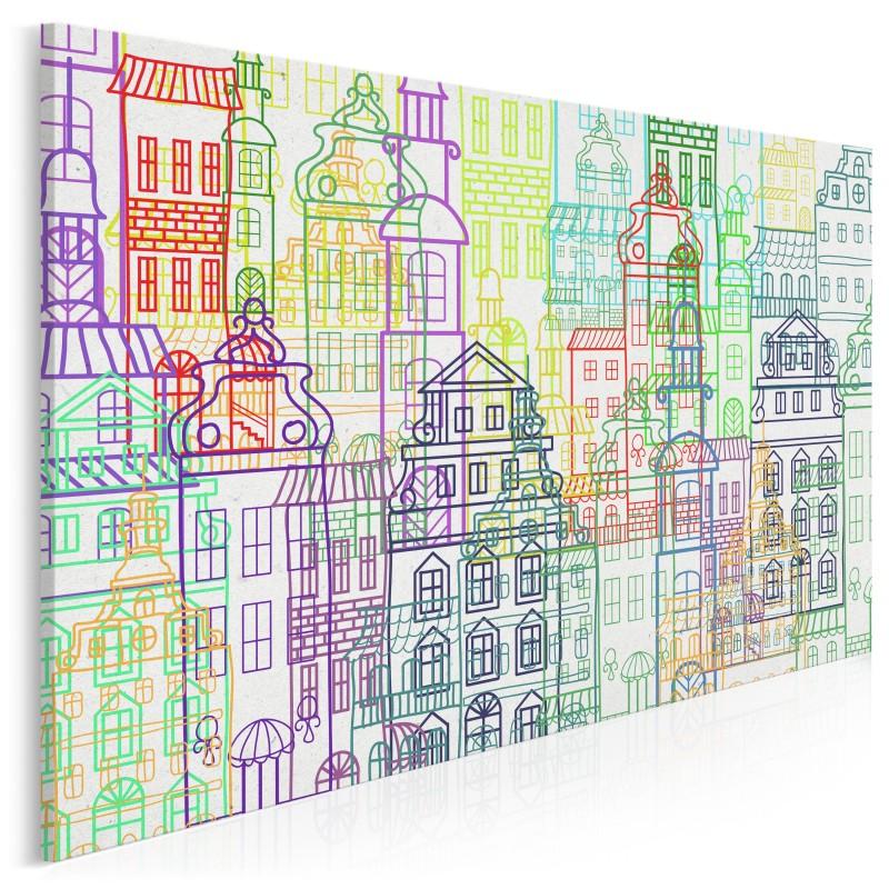 Wrocławskie kamieniczki - nowoczesny obraz na płótnie - 120x80 cm