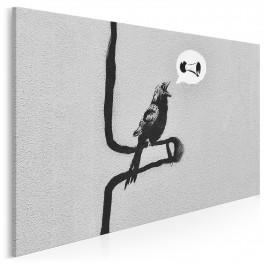 Banksy - Ptak - nowoczesny obraz na płótnie - 120x80 cm