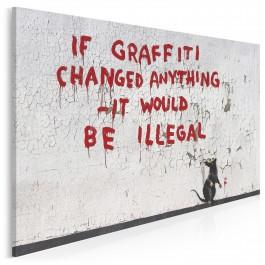 Banksy - If graffiti changed anything - nowoczesny obraz na płótnie - 120x80 cm