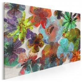 Papierowe kwiaty - nowoczesny obraz na płótnie - 120x80 cm