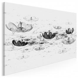Nenufary na wodzie - nowoczesny obraz na płótnie - 120x80 cm