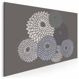Srebrzyste chryzantemy - nowoczesny obraz na płótnie
