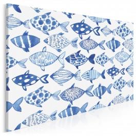 Błękitna ławica - nowoczesny obraz na płótnie - 120x80 cm