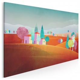 Toskańskie wzgórza - nowoczesny obraz do sypialni - 120x80 cm