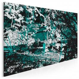 W cieniu turkusowego drzewa - nowoczesny obraz na płótnie - 120x80 cm