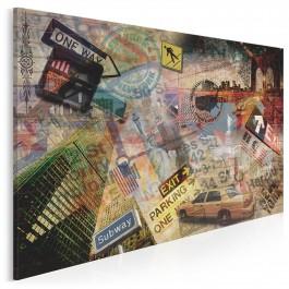 Kolaż z Nowym Jorkiem - nowoczesny obraz na płótnie - 120x80 cm