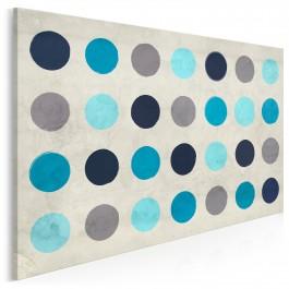 Turkusowe koła abstrakcji - nowoczesny obraz na płótnie - 120x80 cm