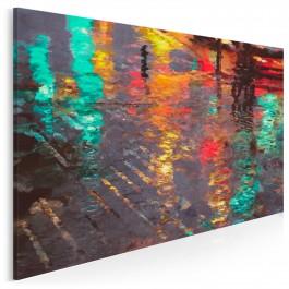 Odbicie deszczowego miasta - nowoczesny obraz na płótnie - 120x80 cm