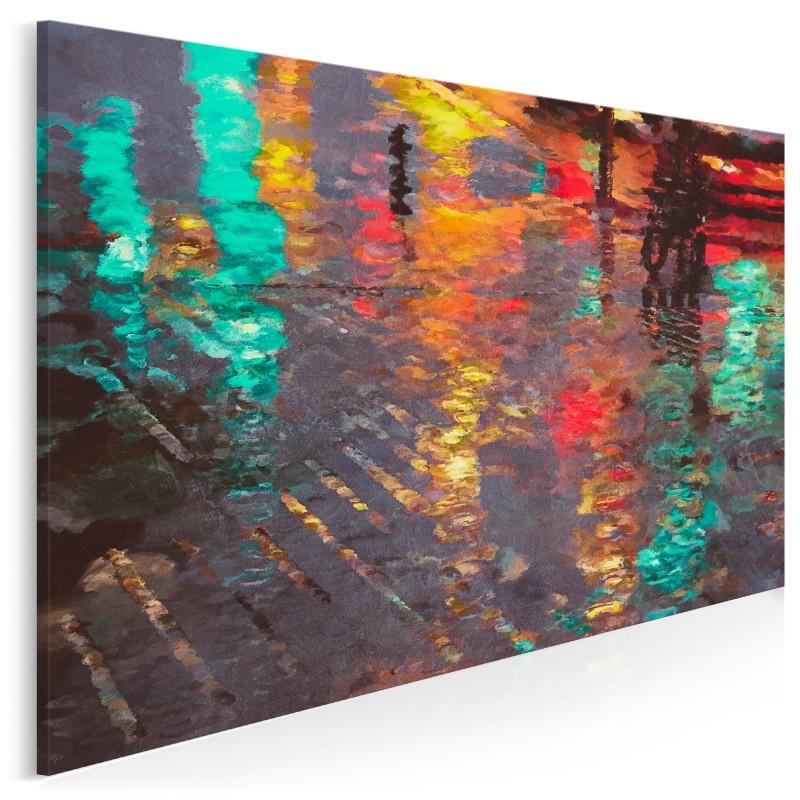 Odbicie deszczowego miasta - nowoczesny obraz na płótnie