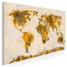 Mapa świata w brązach - nowoczesny obraz na płótnie