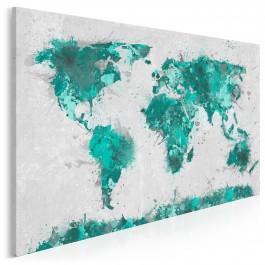 Mapa świata w turkusach - nowoczesny obraz na płótnie