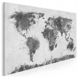 Mapa świata w czerni i bieli - nowoczesny obraz na płótnie