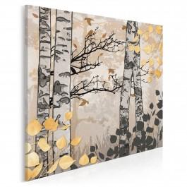 Jesienny las brzozowy - nowoczesny obraz na płótnie - 80x80 cm