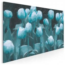 Turkusowe bukiety - nowoczesny obraz na płótnie- 120x80 cm