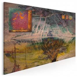 Zachód w opuszczonym lesie - nowoczesny obraz na płótnie - 120x80 cm