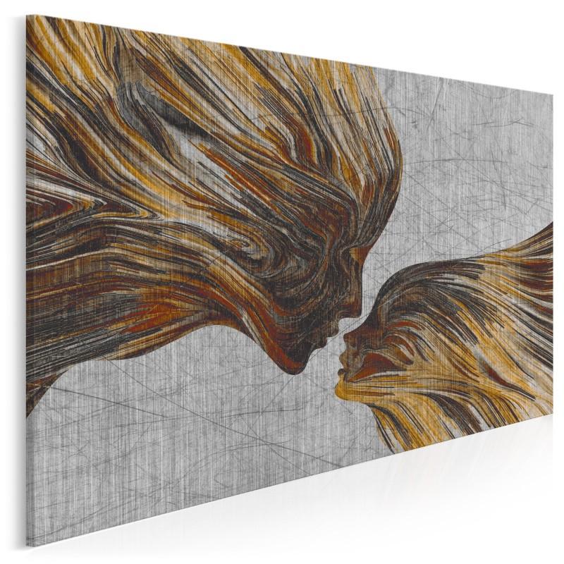 Taniec żywiołów w brązach - nowoczesny obraz na płótnie - 120x80 cm
