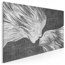 Taniec żywiołów w szarościach - nowoczesny obraz na płótnie - 120x80 cm