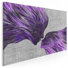 Taniec żywiołów we fioletach - nowoczesny obraz na płótnie - 120x80 cm
