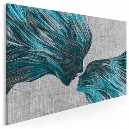 Taniec żywiołów w błękitach - nowoczesny obraz na płótnie - 120x80 cm