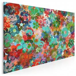 Barwna rabatka - nowoczesny obraz na płótnie - 120x80 cm