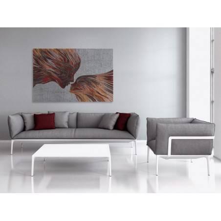 Taniec żywiołów w czerwieniach - nowoczesny obraz na płótnie - 120x80 cm