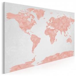Geometryczna mapa w pastelach - nowoczesny obraz na płótnie