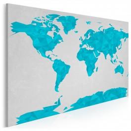 Geometryczna mapa w błękitach - nowoczesny obraz na płótnie