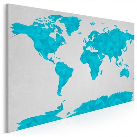Geometryczna mapa w błękitach - nowoczesny obraz na płótnie - 120x80 cm