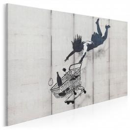 Banksy - Kobieta z wózkiem - nowoczesny obraz na płótnie