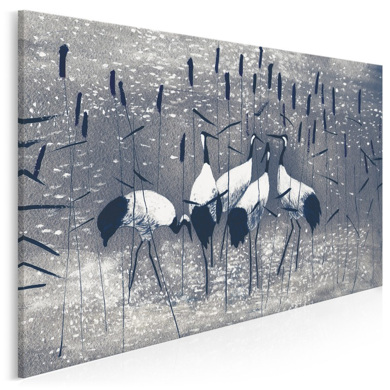 Żurawie wśród tataraku - nowoczesny obraz na płótnie - 120x80 cm
