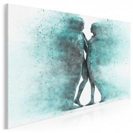 Metafizyka miłości w turkusach - nowoczesny obraz na płótnie