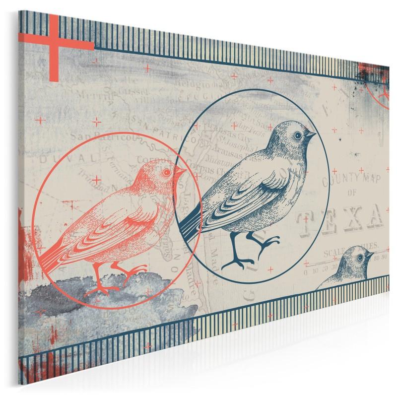 Niebieski ptak - nowoczesny obraz do salonu - 120x80 cm