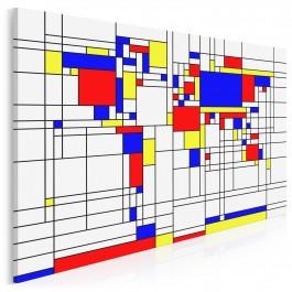 Podróże z Mondrianem - nowoczesny obraz na płótnie - 120x80 cm